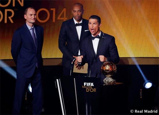 Cristiano Ronaldo gana tercer Balón de Oro grito celebración