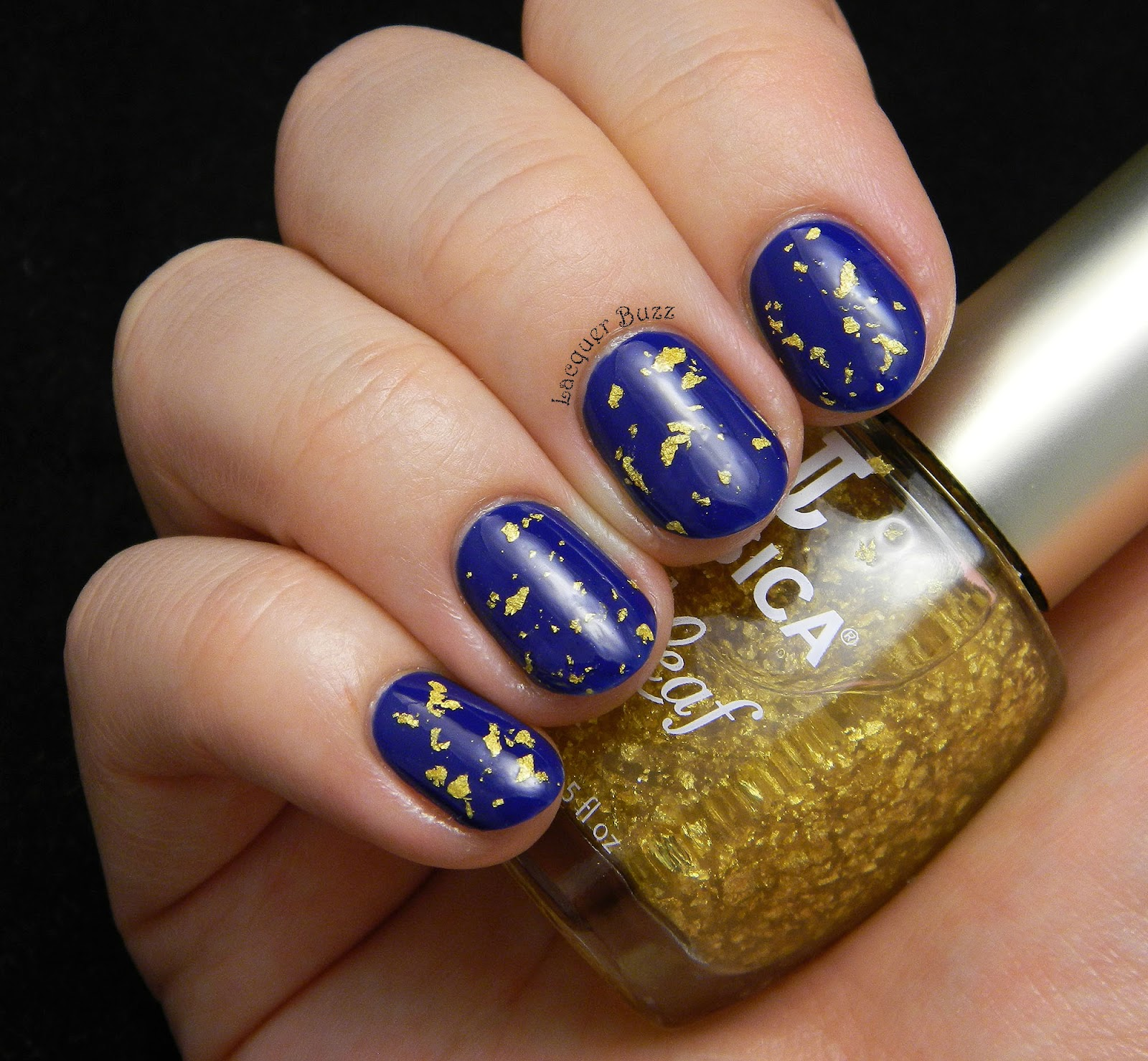 Lacquer Buzz: Monday Blues: Navy and Gold