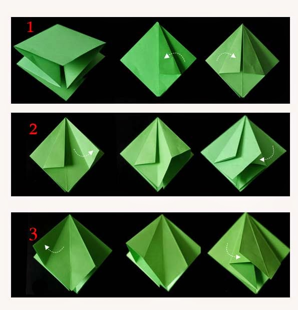 Origami christmas tree 3d paper origami guide for How to make paper christmas decorations at home