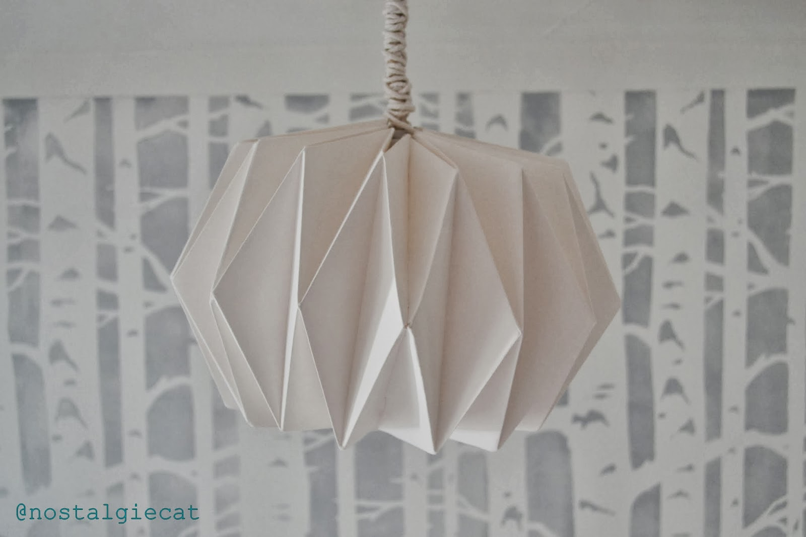 Nostalgiecat diy origami paper lampshade use a low wattage light bulb to further minimize any risk of fire aloadofball Images