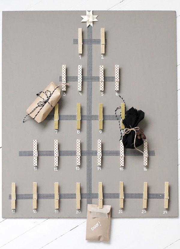 albero di natale calendario avvento con mollette