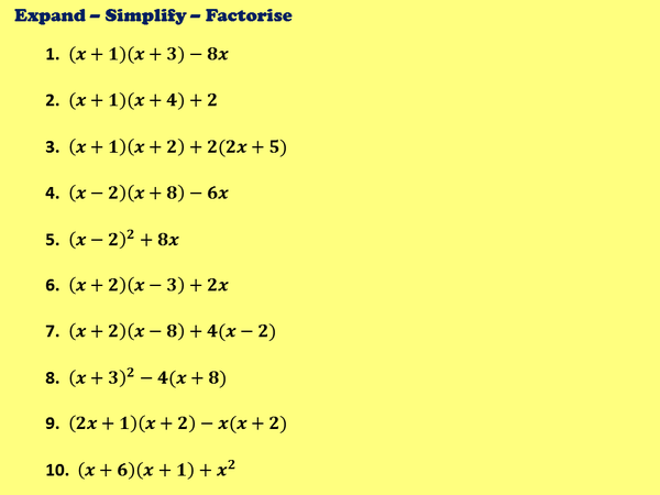 Factorising Quadratics Practice from @DJUdall