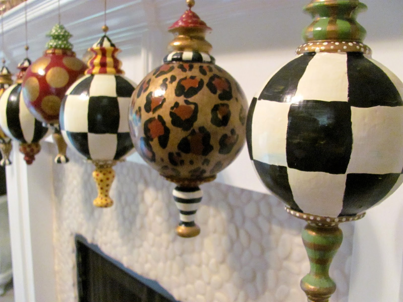 Hand Painted Large Finial Style Animal Print Ornaments