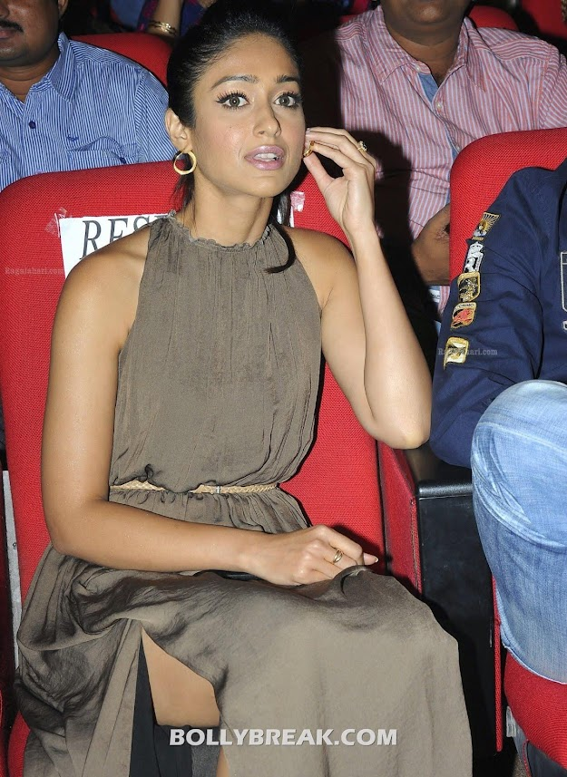 Ileana shows off her her casual yet elegant style in this lovely dress -  Ileana in  Brown Dress with side slit @ DCM Audio Release
