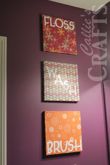DIY, Bathroom Art , Mod Podge,Vinyl Cricut Letters, purple paint, floss, brush, wash,flush