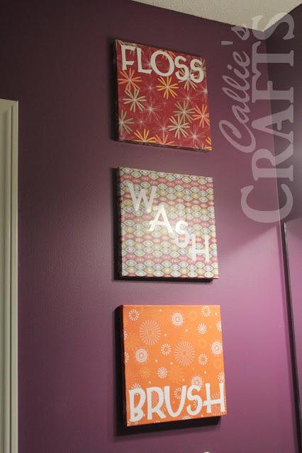 DIY, Bathroom Art , Mod Podge,Vinyl Cricut Letters, purple paint, floss, brush, wash,flush