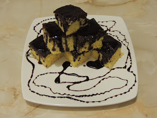 Quick and easy dessert poored with cocoa chocolate sauce
