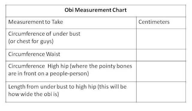 sewing box designs Obi measurement chart