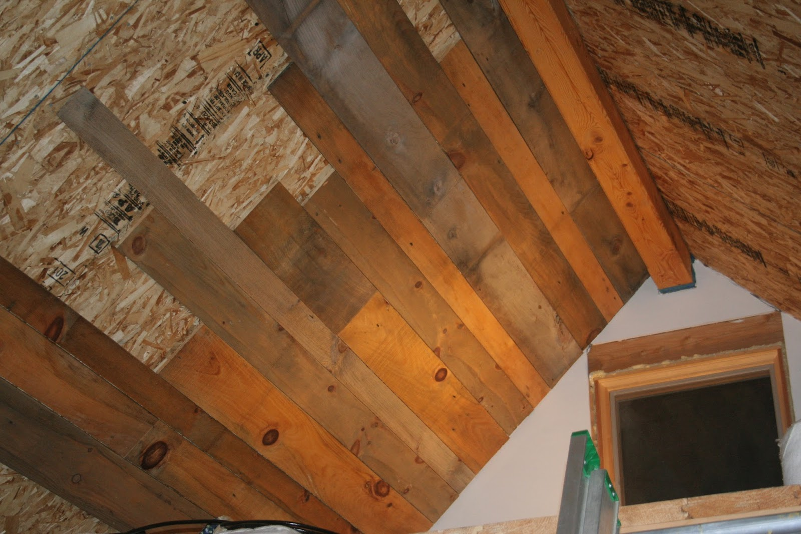 Adam and karen 39 s tiny house in equinunk pa ceiling planks for Faux wood ceiling planks