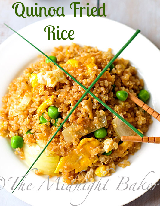 Quinoa Fried Rice | bakeatmidnite.com | #quinoa #friedrice #vegetarian
