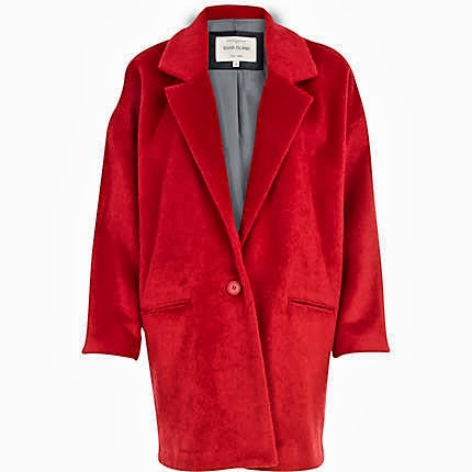 red cocoon coat