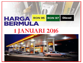 Harga Minyak Petrol ron95 ron 97 Dan Diesel Januari 2016