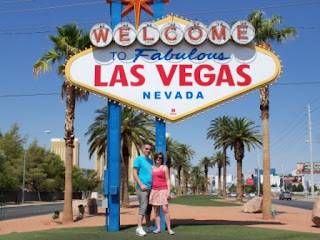 Richard & Emily at the Welcome to Fabulous Las Vegas sign ahead of the competition