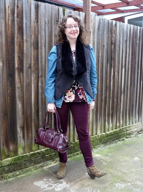 Land's End Floral Top, New Look Denim Shirt, Dorothy Perkins Petite Gilet & Jeans | Petite Silver Vixen