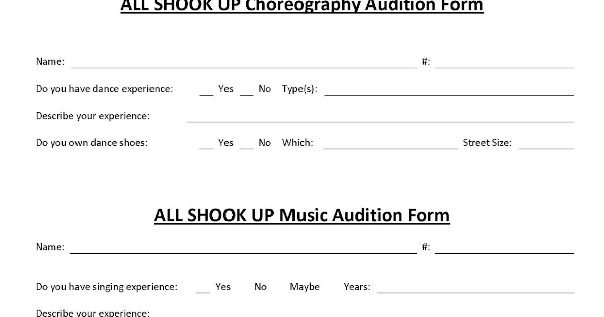 All Shook Up At Stg  Asu Choreography And Music Audition Form