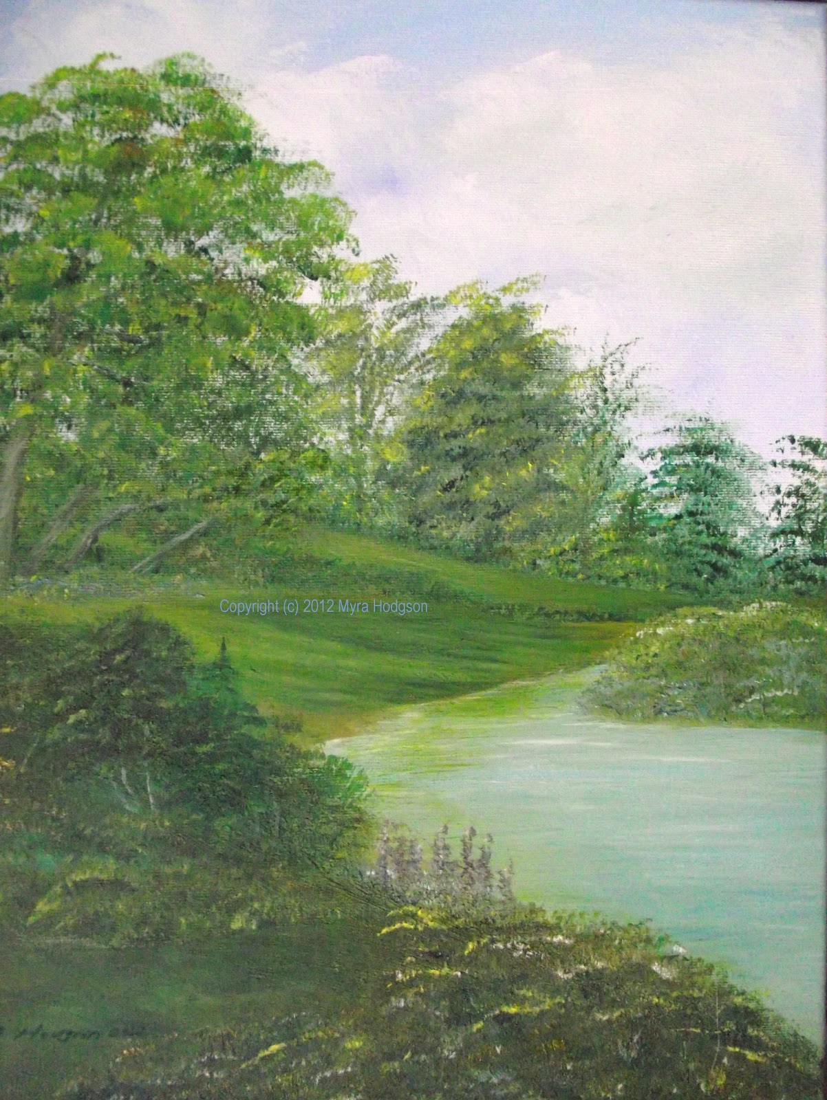 trees in the landscape painting in acrylics