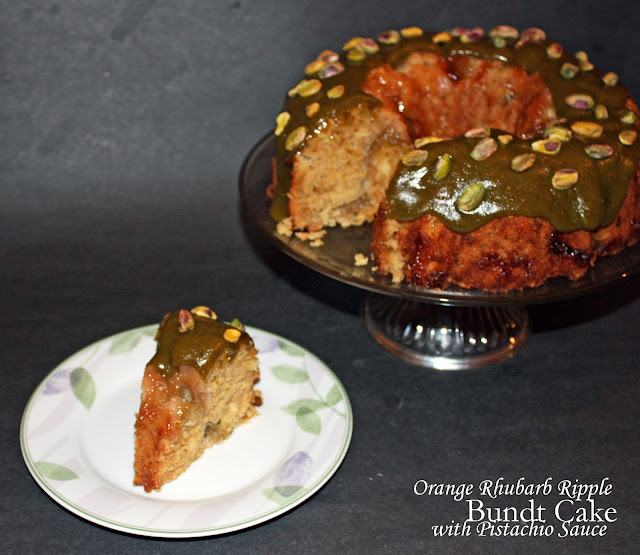 orange rhubarb ripple bundt cake with pistachio sauce