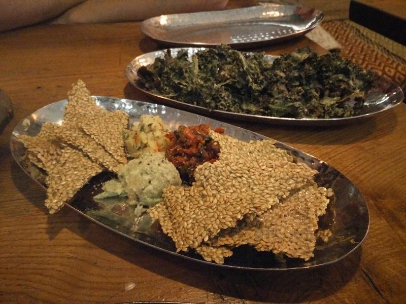 Vegan nachos and kale chips