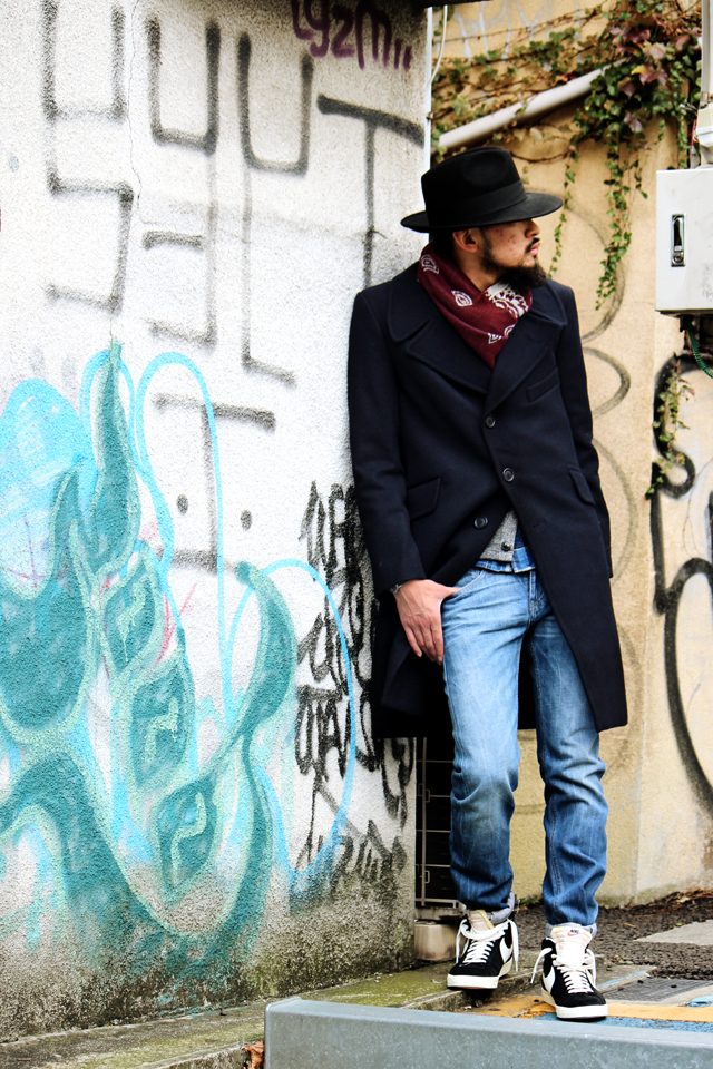 hackneyunionworkhouse ハックニーユニオンワークハウス woolhat pipcoat 14fw madeinengland outfit greenangle