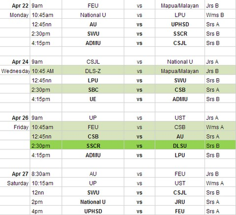 FilOil Pre Season Cup 2013 Schedule of Games / Game Schedule