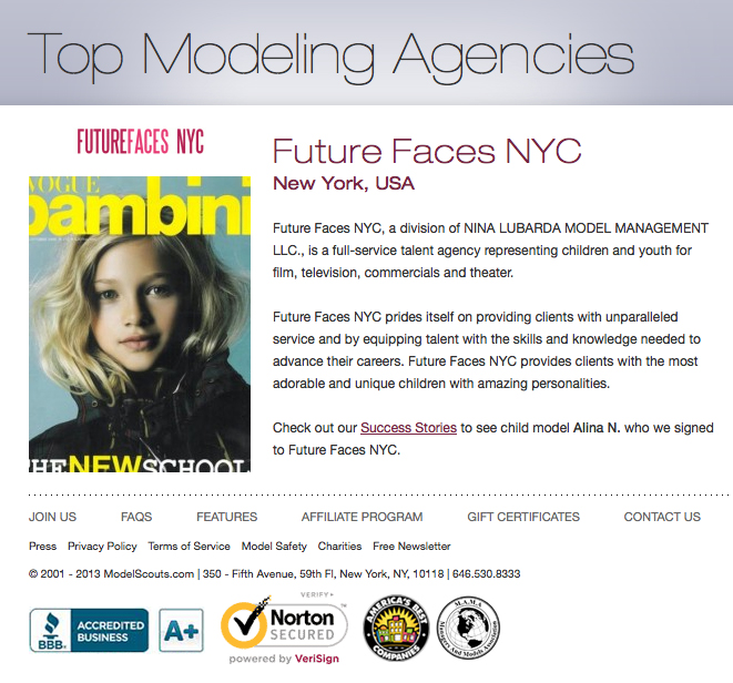 Future faces nyc model agency kids new york future faces for New york modeling agencies