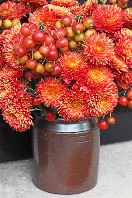 Chrysanthemums and crabapples