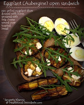lessons from Maggi episode and a recipe of REAL food | eggplant open sandwich with feta cheese and home grown rucola
