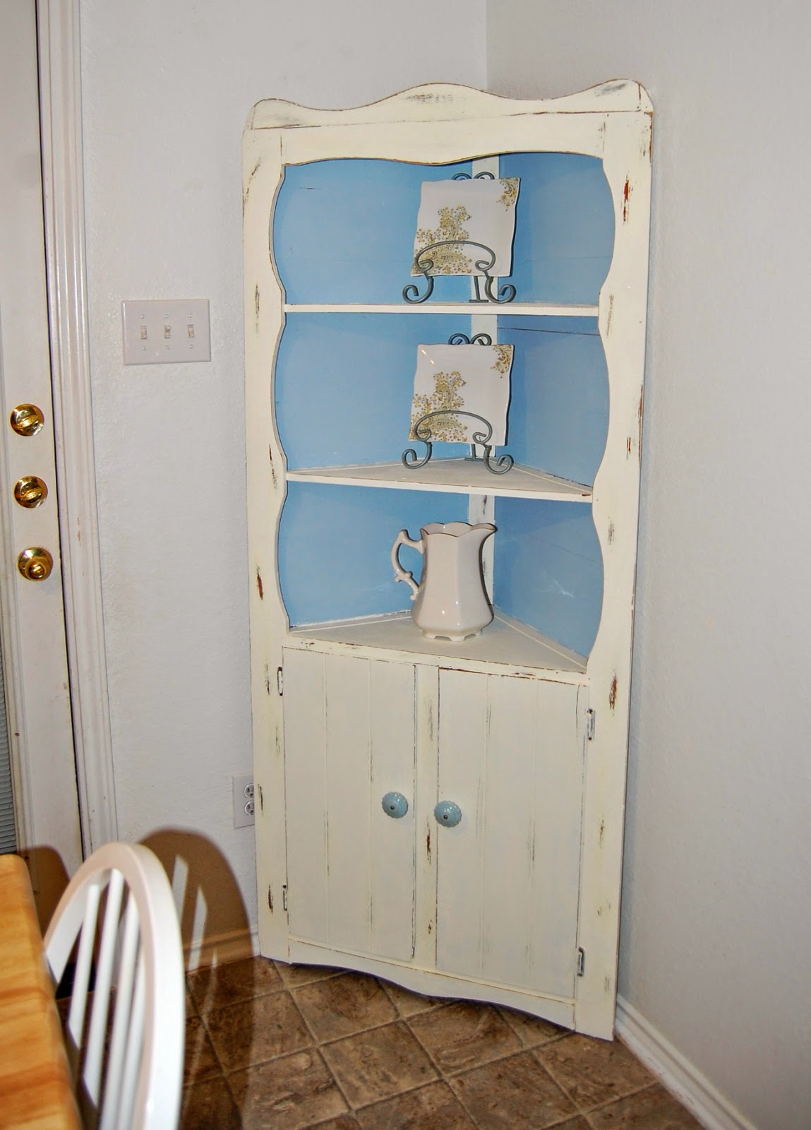 Ordinaire Heavily Shellacked Corner Cabinet Turned Shabby Chic Using Americana Chalk  Paints In Whisper U0026 Serene For The Interior Color. Distressed With New  Hardware ...
