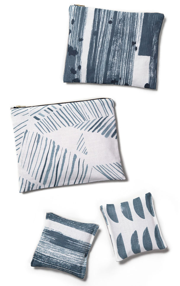 rebecca atwood, textile design, printed pouches