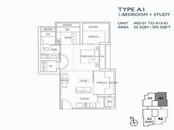 1+1 Bedroom Floor Plans