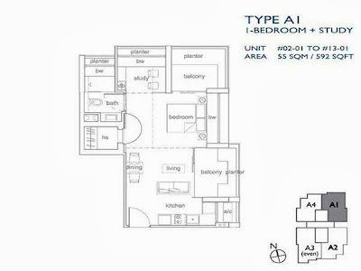 The Peak @ Cairnhill l 1 bedroom + study Floor Plan
