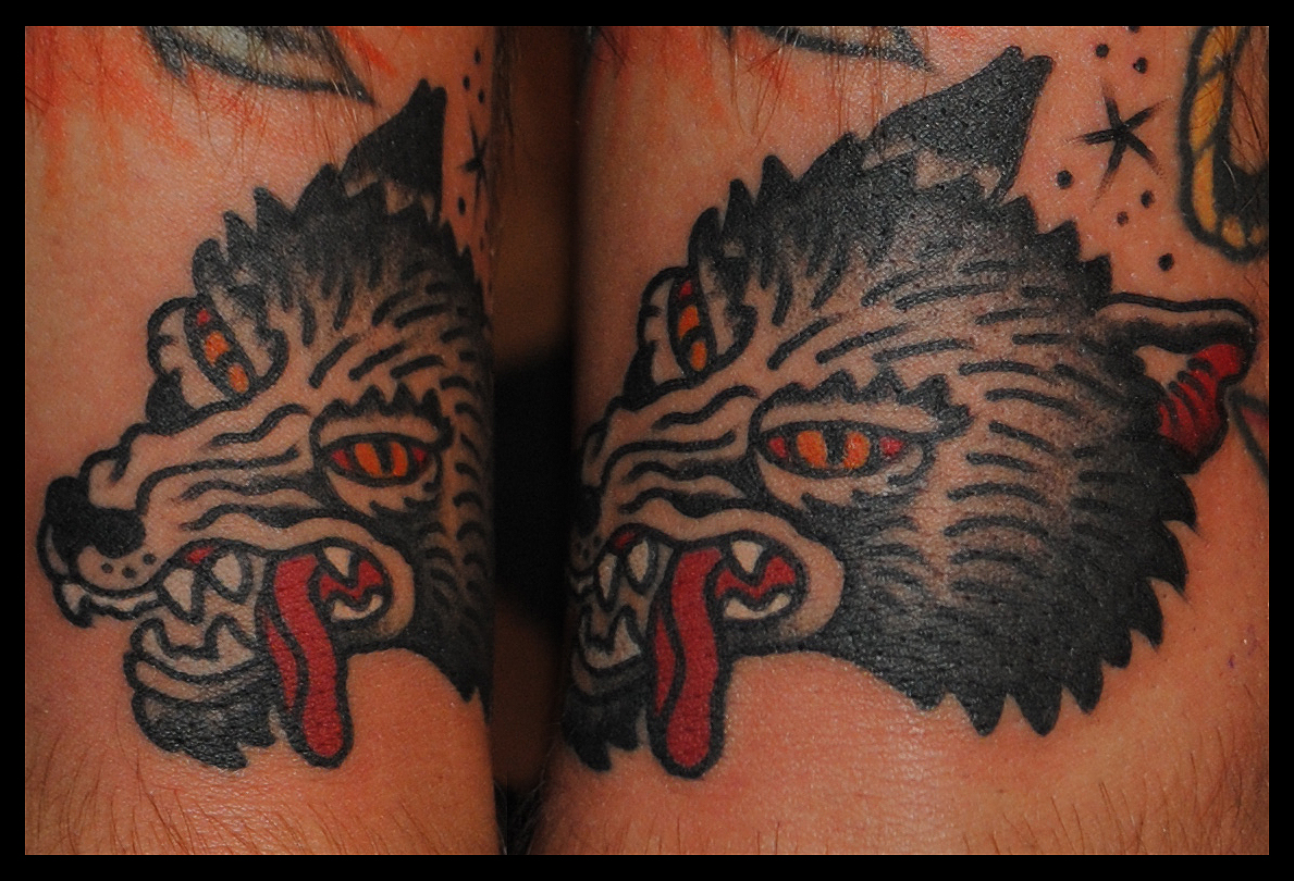 The sea wolf tattoo company for Wolf tattoo traditional