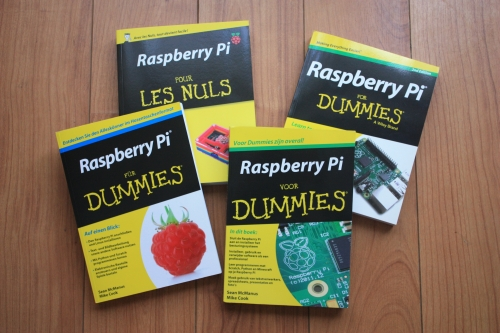 Photo of English, French, German and Dutch editions of Raspberry Pi For Dummies