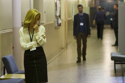 The Fall BBC2. DSI Stella Gibson (Gillian Anderson) and the serial killer Paul Spector (Jamie Dornan)