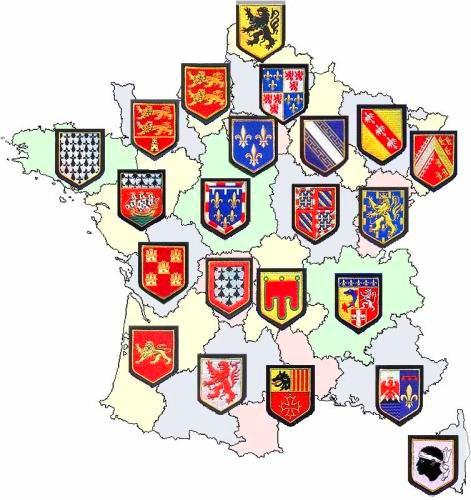 Carte Administrative Des 22 Regions De La Gendarmerie Nationale En Metropole Identifies Par Leurs Blasons