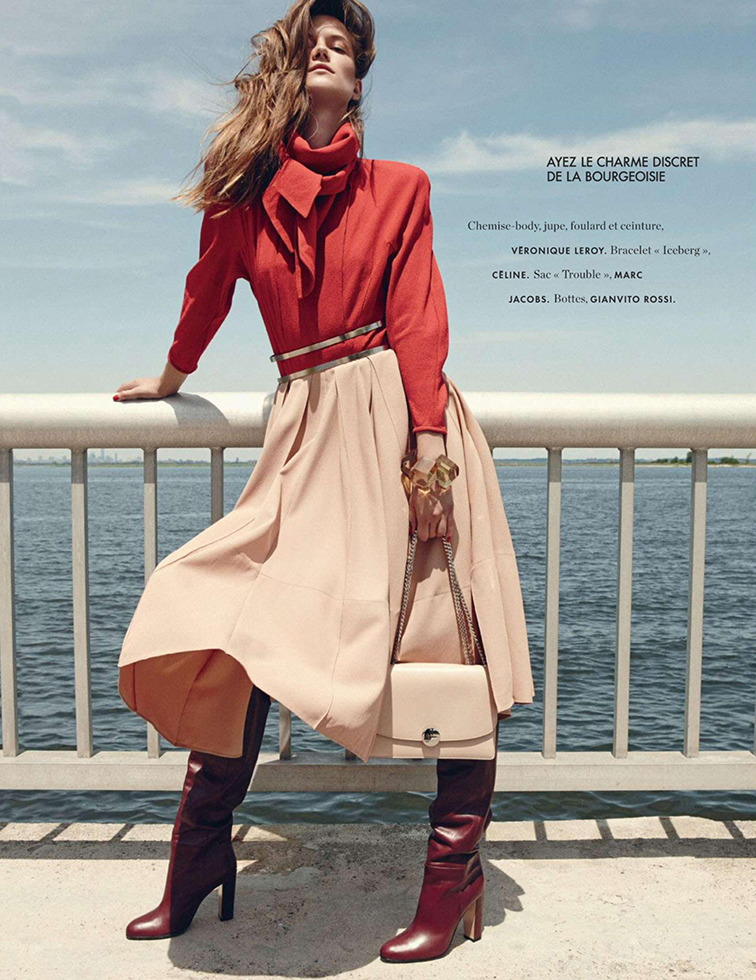 Kasia Struss for Elle France August 28th 2014, photographed by Nagi Sakai, styled by Jeans Le Beault, Hortense Manga & Tamara Taichman, Véronique Leroy shirt, skirt, scarf & belt, Céline bracelet, Marc Jacobs bag, Gianvito Rossi boots