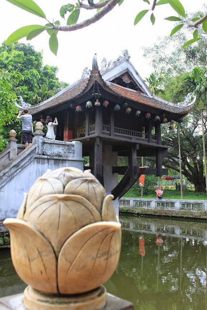The side view of One Pillar Pagoda which resemblance of Lotus Flower in Hanoi, Vietnam
