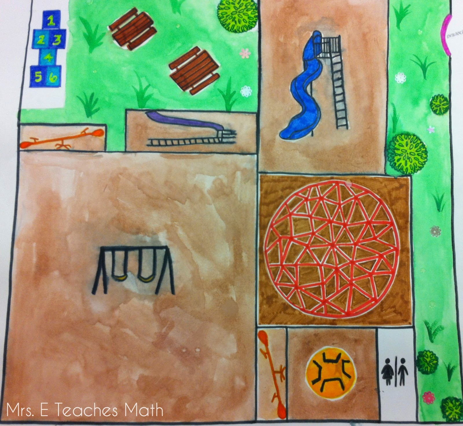 Playground Project - using perimeter and area in geometry  |  mrseteachesmath.blogspot.com