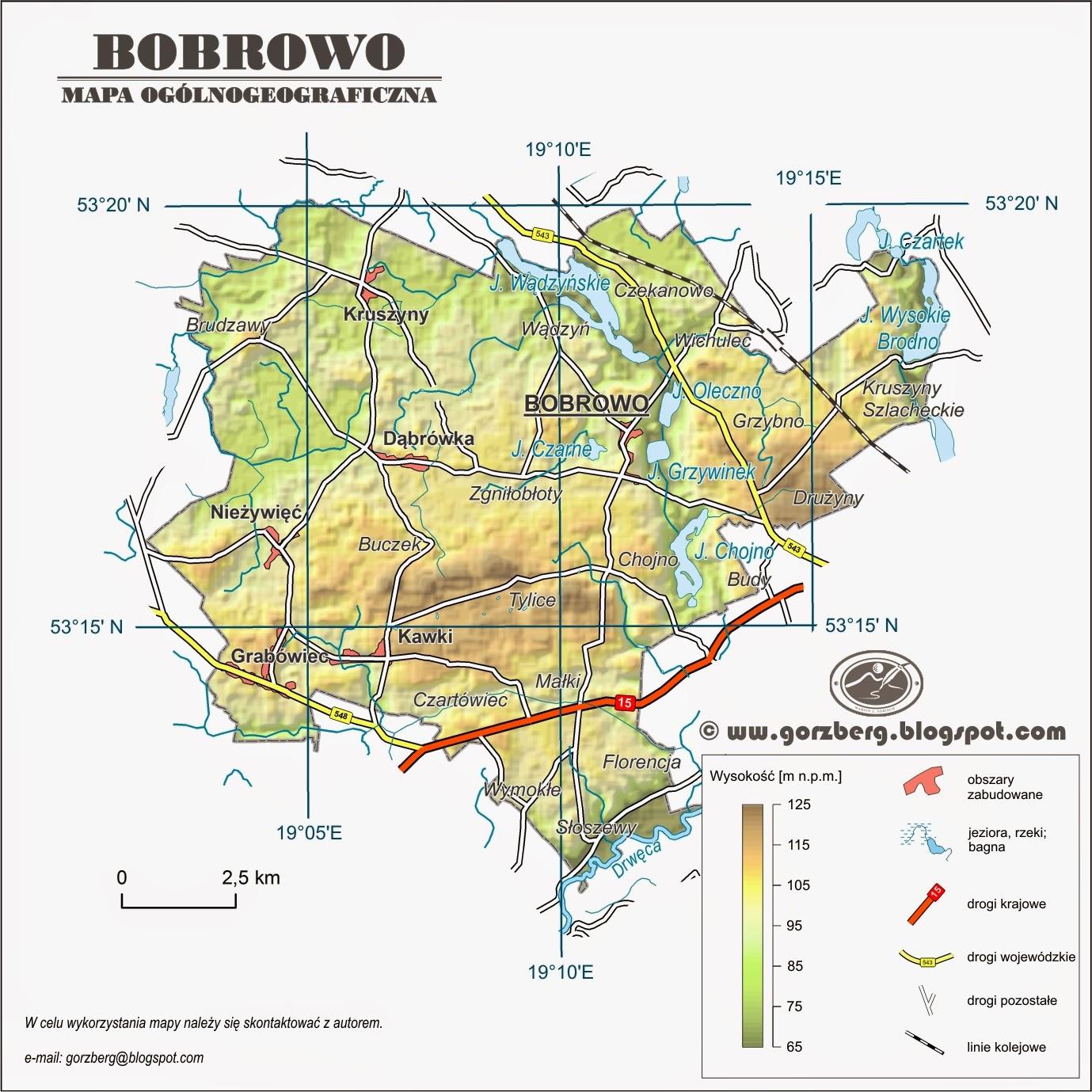 Mapa ogólnogeograficzna gminy Bobrowo