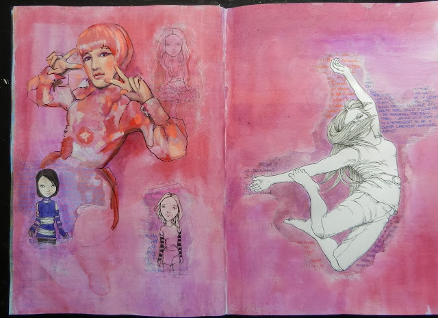 art Journal page with acrylic painting on top of drawings.