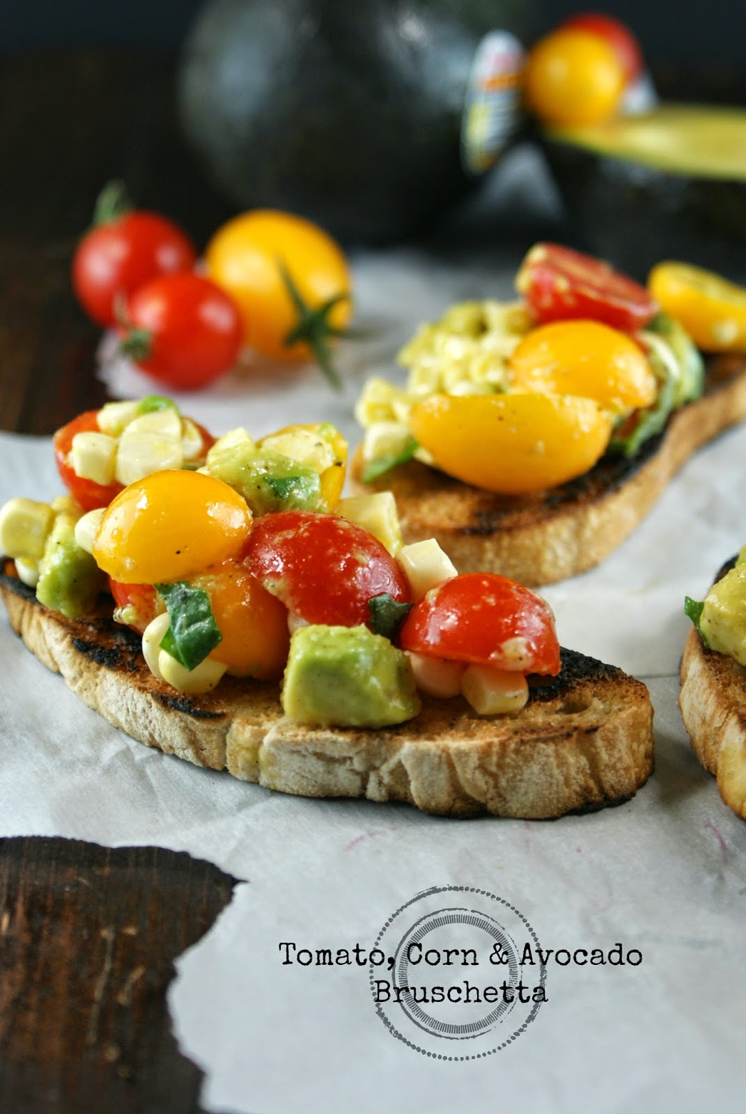 tomato, corn & avocado bruschetta | friday night bites