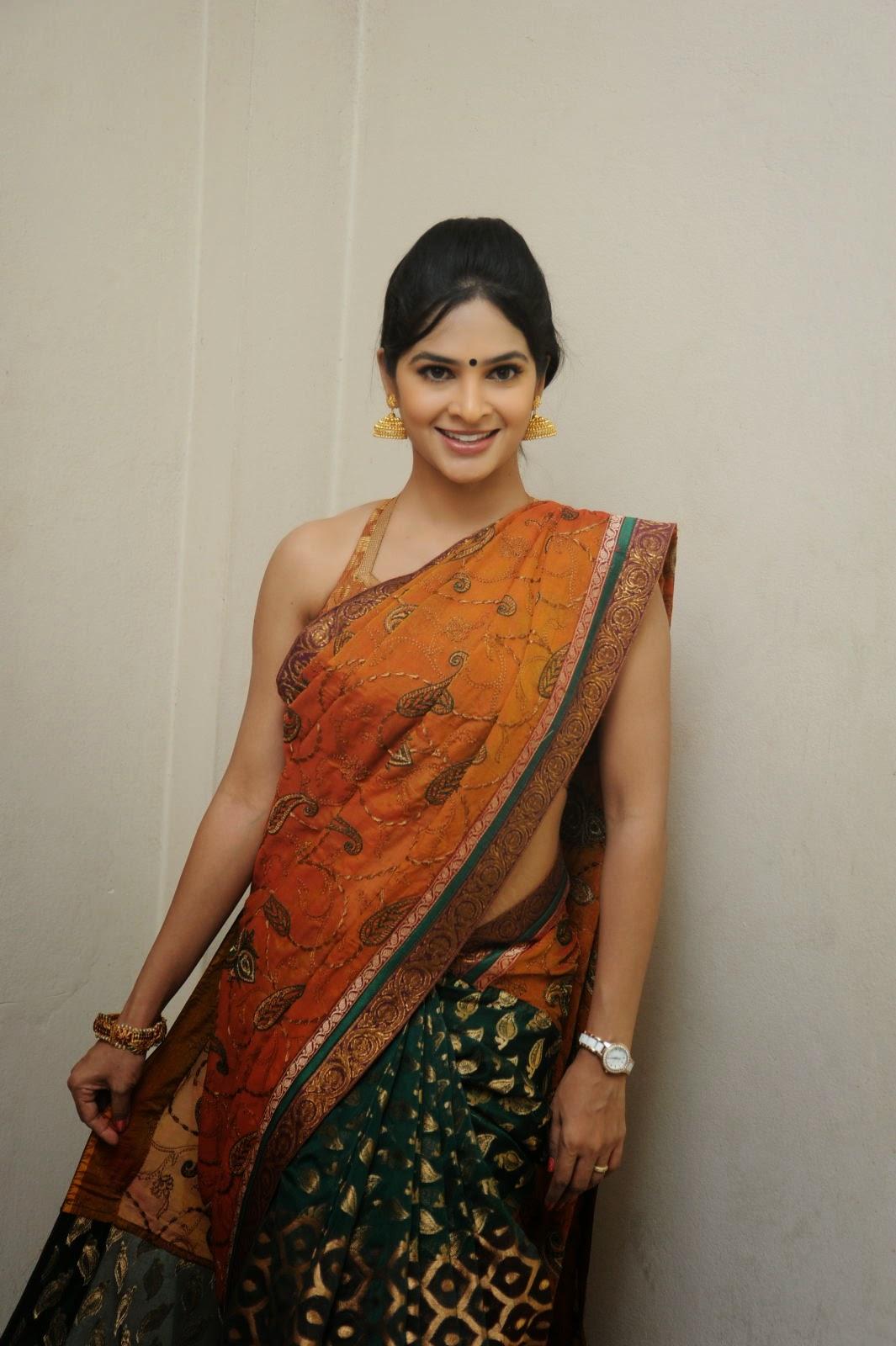 Madhumitha sizzling pics in saree-HQ-Photo-4