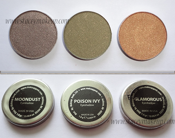 Makeup Geek Eyeshadows moondust, poison ivy, glamorous
