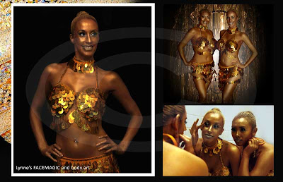 Models are completely painted in gold with a touch of shimmery glitter for promotional nightclub event