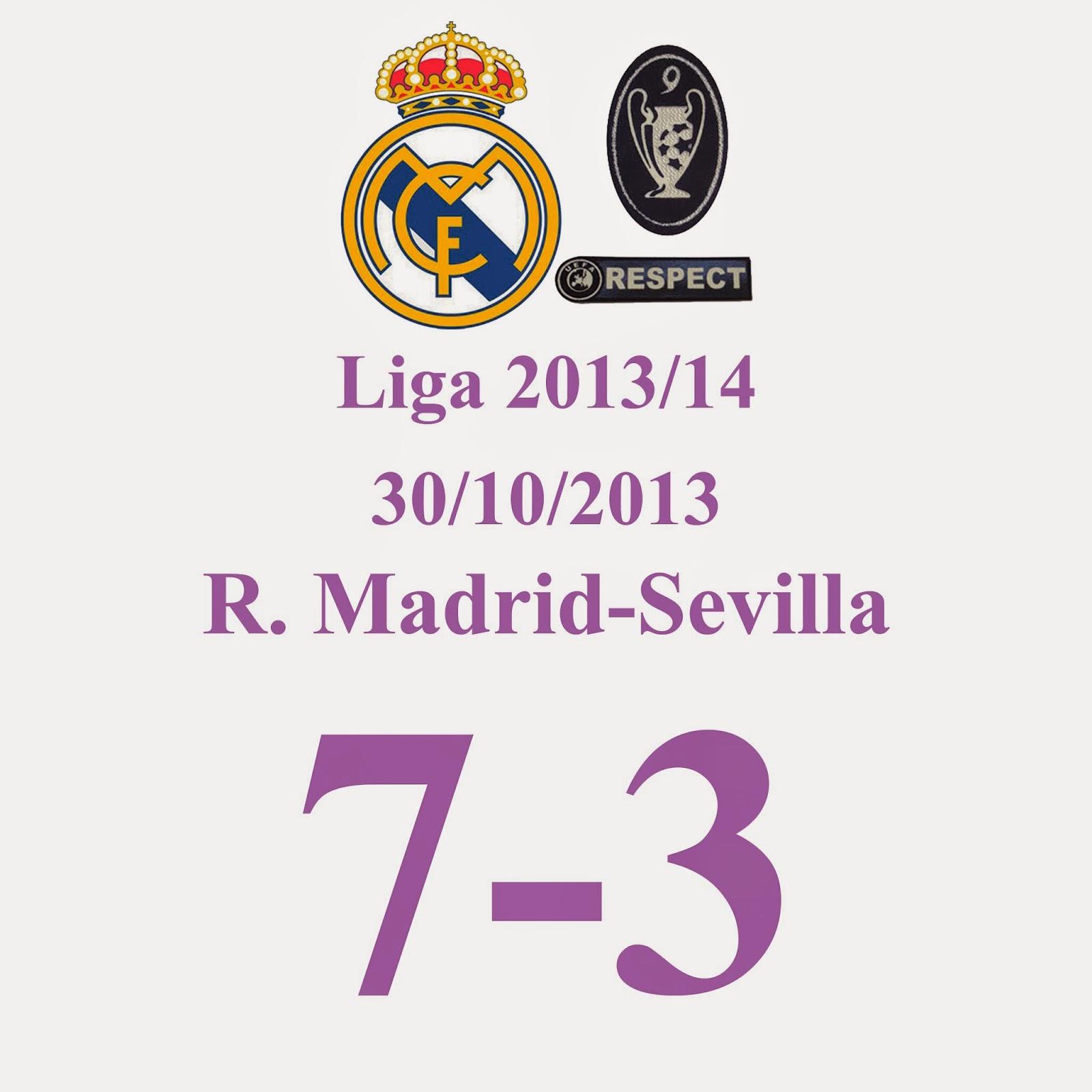 Real Madrid 7 - Sevilla 3 (Jornada 11 - 30/10/2013) Nuevo Hattrick de C. RONALDO (BAÑO DE LOS GORDOS AL SEVILLA)