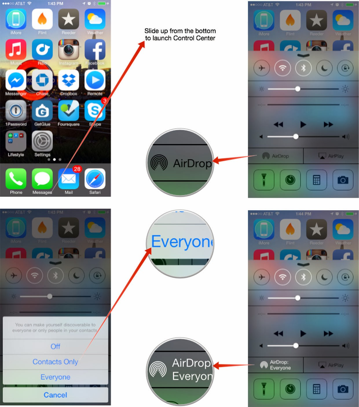 How to Use airdrop in ios7