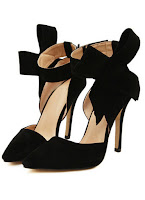 romwe black bow pumps