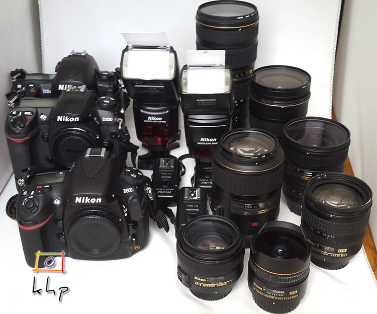 2 FX DSLR bodies, 1 DX DSLR body, 2 Speedlights, 6 FX lenses and 1 DX lens