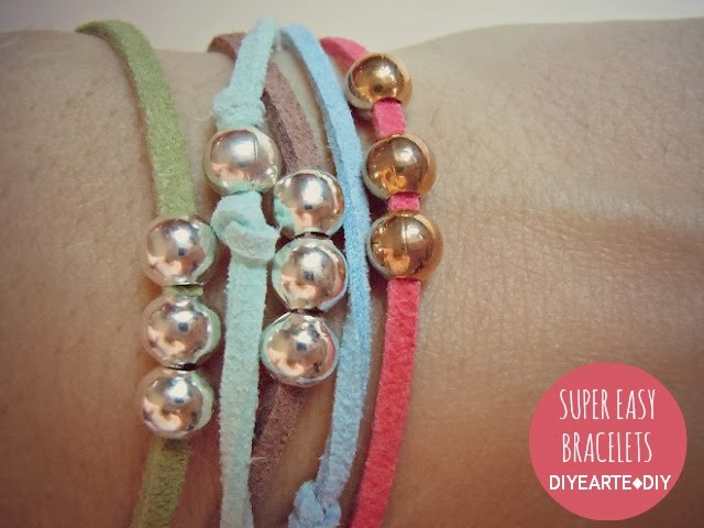 easy-bracelets-diy-thread-leather-beads-diyearte-pulseras-faciles-colores-bolas-beaded-jewelry-handmade