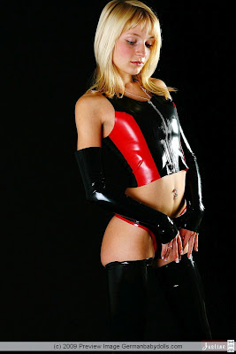 Sexy Blonde Teen Justine Shiny Black PVC Outfit